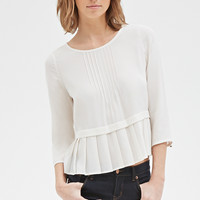 Pintucked Pleat-Hem Blouse