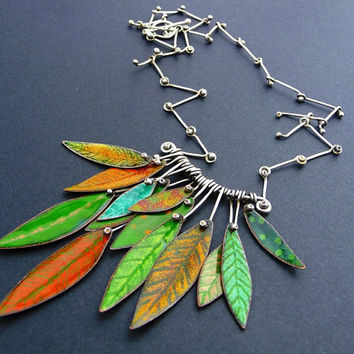 Unique torch fired enamel leaf necklace with hand made sterling silver chain
