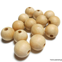 Wood Beads 18mm Lot of 50 Destash Craft Supplies Round Wooden Beads Jewelry Making Craft Projects Natural Unfinished Wood