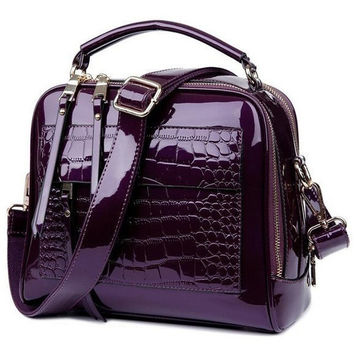 Patent Leather Crocodile Satchel Bag