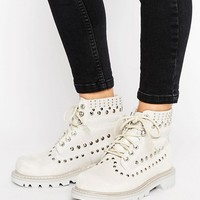 Cat Colorado Studded Lace Up Flat Boot at asos.com