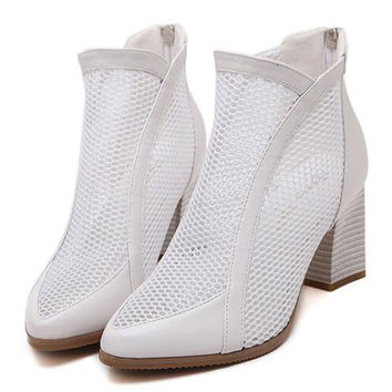 White Mesh Pointed Ankle Boots with Block Heels