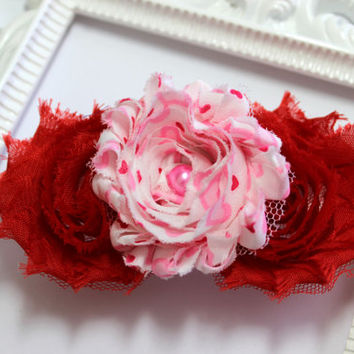Red Valentines Shabby Flower Headband, Fold Over Elastic Headband, Newborn Headband, Baby Headband, Newborn Photo Prop, Flower Headband