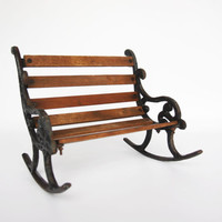 Antique cast iron wooden rocking bench, doll size art nouveau looking bench, vintage doll furniture, rustic home decoration