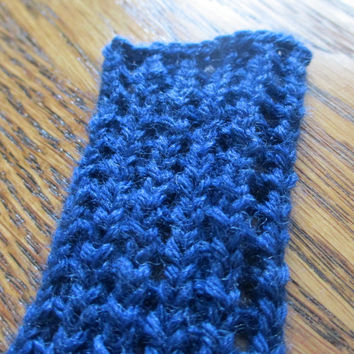 Hand Knit ribbed bookmark - book scarf, royal blue