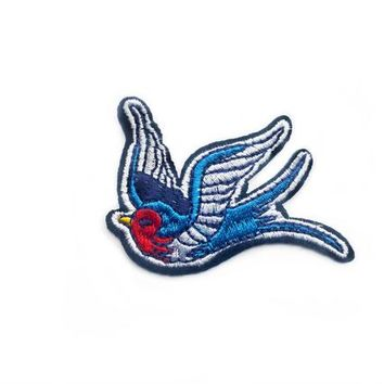 Swallow Patch - Embroidered Patch - Bird Patches for Clothes - Rockabilly Patch - Clothing Birds Swallow Patch Vintage - Blue Patch
