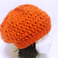 Knit women hat, fall color hat, orange beanie, women knit apparel, women knitting, fall headwear, slouch beanie, pumpkin orange color