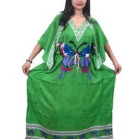 Womens Kaftan Dress Green printed Loungerwear Beach Coverup Maxi Caftan: Amazon.com: Clothing