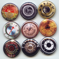 "Vintage Radio Tuning Dials retro images 9 Pinback 1"" Buttons Badges Pins"