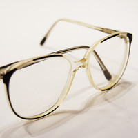Vintage Glasses 1980's Oversize Eyeglass Black White and Clear Plastic 55/18 Optical Frame