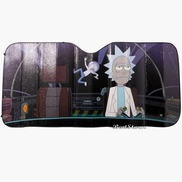 Licensed cool Rick & Morty SUNSHADE Space Cartoon Nework ACCORDION Sun Shade Auto Car Truck