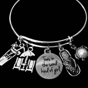 Toes in the Sand Girl Silver Expandable Charm Bracelet Flip Flop Turtle Adjustable Bangle Nautical Jewelry Beach One Size Fits All Gift