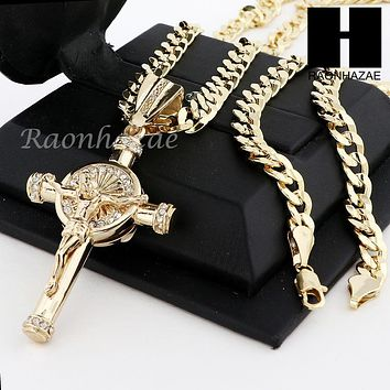 MENS ICED OUT ANCHOR CROSS PENDANT & DIAMOND CUT CUBAN LINK CHAIN NECKLACE N57