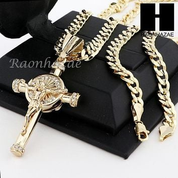 MENS ANCHOR CROSS PENDANT & DIAMOND CUT CUBAN LINK CHAIN NECKLACE N57