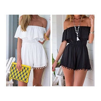 Summer Style Women Romper Off The Shoulder Elastic Waist Ruffles Playsuit Jumpsuit [8805223687]