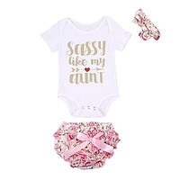 3 Pcs Sassy Like My Aunt Outfit Set