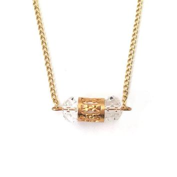 Faceted Clear Crystal Rondelle Gold Filigree Tube Chain Necklace