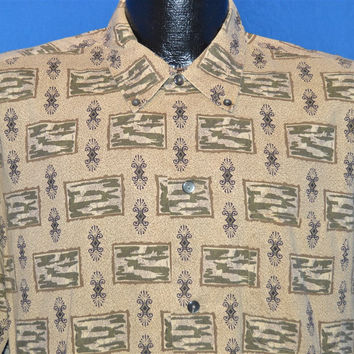 50s Pilgrim Novelty Print Rockabilly Shirt Large