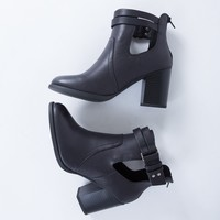 Leather Strap Heel Booties