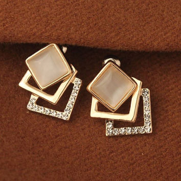 E757 Hot Sale New Fashion Opal square Crystal Stud Earrings Three-dimensional Box Temperament For Women Jewelry Accessories