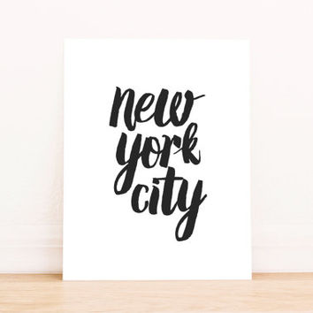 "PRINTABLE Art ""New York City"" Typography Art Print Black and White Office Decor Home Decor Apartment Decor"