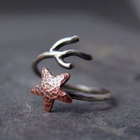 Copper Starfish Coral Adjustable Ring, Beach Jewelry, Starfish Ring, Ocean Jewelry, Gifts for her, Gifts under 40.00, Handmade