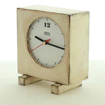 White home decor clock, Unique Wood Clock, Wooden Clock White, Desk clock Vintage style, Shabby chic decor, Christmas gift, Free shipping
