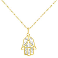 18k Yellow Gold Plated Two Tone Filigree Hamsa Hand Amulet Pendant & Chain 19in