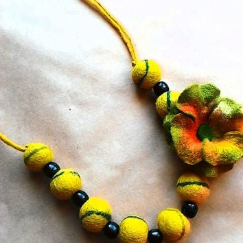 wool felt beaded necklace yellow with flower eco natural