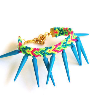 Sky Blue Spikes Friendship Bracelet by makunaima on Etsy