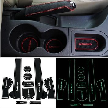 Autumn Fall welcome door mat doormat 10 pcs sport style gate slot pad rubber car-cup Interior cup cushion  Cup stickers covers For Nissan Qashqai 2013~2015 AT_76_7