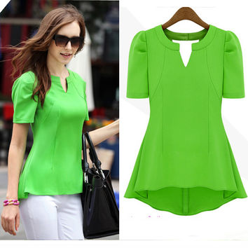 Chiffon V-neck Brief Slim Pure Color T-shirt