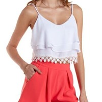 White Tiered Crochet-Trim Crop Top by Charlotte Russe