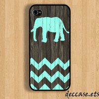 IPHONE 5 CASE Mint chevron ELEPHANT on dark wood background iPhone 4 case iPhone 4S case iPhone case Hard Plastic Case Soft Rubber Case