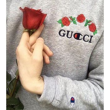 GUCCI & Champion Popular Embroidering Rose Flower Letter Hoodie Sweater Long Sleeve Sweatshirt Grey I