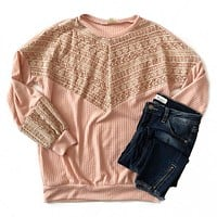 NEW! Double Pink Embroidered Front Top