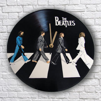 The Beatles painted retro vinyl clock. Abbey Road. Gift for music lover