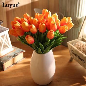 Luyue 21pcs/lot Wedding Decoration PU Artificial Bouquet Real Touch Flowers Tulip Fake Simulation Flower Home Decorative