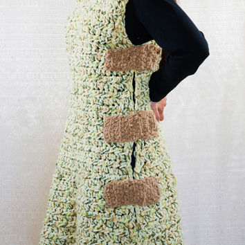 LVO-138 The Mongol Coat, Pullover Tunic-Hand Crochet-Ready to Ship