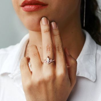SALE Marquise Diamond Unique Tiara Engagement Ring, 14K Rose Gold, Size 7, Gift For Her - Valentine's Day