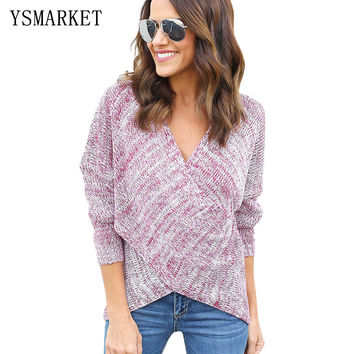 2017 New Sexy Women Knitted Tops Fashion Cross Wrap Sweater Pullover Loose Casual Clothes Spirng V Neck Girls Sweater E27622