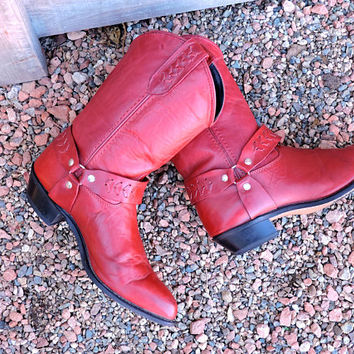 Capezio boots 7 EU 37.5 / red leather boots / western red cowgirl boots / womens Capezio red cowboy boots / made in USA