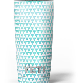 Blue-Green Watercolor Triangle Pattern Yeti Rambler Skin Kit