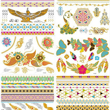 New Release, Dalin 6 Sheets Gold Silver Blue Body Temporary Metallic Tattoos Jewelry Inspired Bling Adult Temp Metallic Glitter Art Tattoos Long Lasting, Trendy Tattoo Designs - Angel Wings, Peacock, Feather, Flower, Butterfly and More
