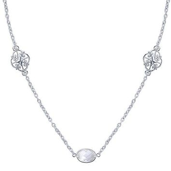 """Sterling Silver Rock Crystal Station By The Yard 36"""" Necklace"""