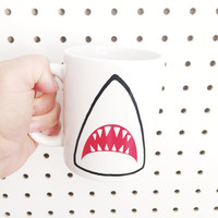 Shark Mug // White - Multi-purpose Container - Coffee Mug - Makeup Holder - Decor - Drinking Mug - Horror Mug - Ocean - Beach Mug
