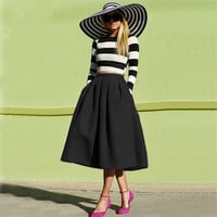 Fashion street style women's black casual vintage midi skirt = 1876343556