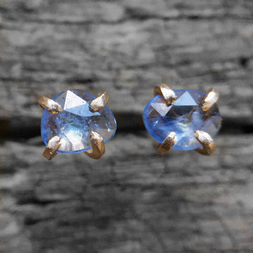 Ready to ship - One of a kind - Rose cut Sapphire Earrings in gold fill