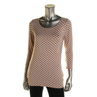 Guess Womens Knit Polka Dot Pullover Top