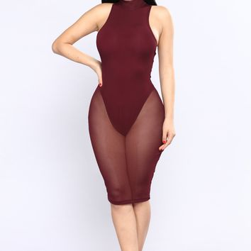 Mobbin Mesh Dress - Red Brown